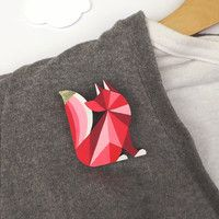 Geometric Brooch Fox Red - Harlequin Fox. Would look cute on a shirt