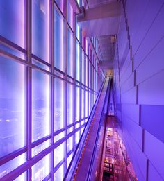 Long Escalator in Orchard Central, Singapore, behind Glass Facade lit by Purple and Pink Neon Lights. Photo by Rory Daniel