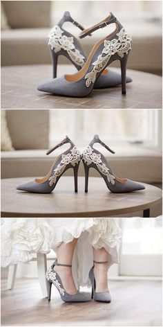Grey Bridal Shoes,Bridal Heels,Wedding Shoes,High Heels,Wedding Heels,Pumps,Gray Heels,Ankle Strap,Cute,Bridesmaid Shoes with Ivory Lace  #weddings #shoes #weddingshoes #weddingideas