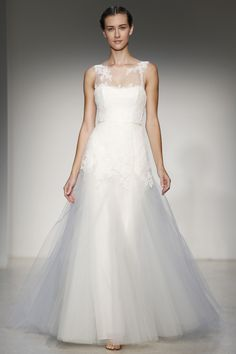 Christos - Bridal Fall 2013    TAGS:Embroidered, Floor-length, Train, White, Christos, Lace, Silk, Tulle, Elegant, Romantic