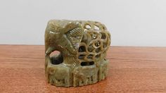 Vintage Handmade Soapstone Carved Fine Jalli Elephant Baby Elephant Inside On Base