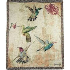Manual Woodworkers & Weavers Hummingbird Floral Tapestry Cotton Throw