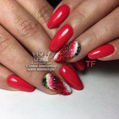 Fruit Nail Designs, Nail Art Designs, Dope Nails, Red Nails, Fruit Nail Art, Yellow Nails Design, Queen Nails, Nails 2017, Stylish Nails