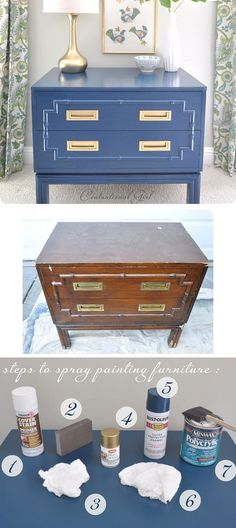 blue nightstand bronze hardware. Love this style, mismatched in a guest bedroom or next to an armchair.