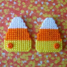"""Plastic Canvas: Candy Corn Magnets (set of 2) -- """"Ready, Set, Sew!"""" by Evie"""