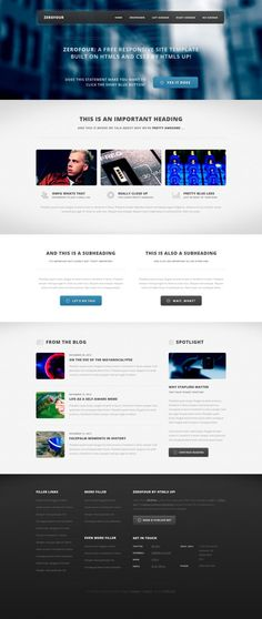 ZeroFour - Free Template --- landing page / WordPress Responsive Web Design, Ui Web, Web Layout, Layout Design, Free Html Website Templates, Simple Web Design, Web Design Inspiration, Design Ideas, Interface Design