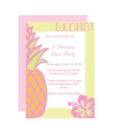 Hawaiian Free Printable Party Invitation from printablepartydecor.com #freeprintable