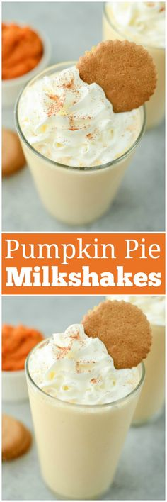Pumpkin Pie Milkshakes - everything you love about pumpkin pie in a milkshake! Sweet pumpkin milkshake with cinnamon and topped with whipped cream and gingersnap cookies. Best Dessert Recipes, Fall Recipes, Sweet Recipes, Delicious Desserts, Just Desserts, Easter Desserts, Yummy Recipes, Recipies, Vegan Recipes