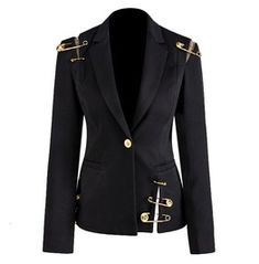 GetSpring Women Blazer Single Button Long Sleeve Women's Slim Suit Jacket Pin Stitching Irregular Ladies Black Blazer Autumn New Blazers For Women, Suits For Women, Clothes For Women, Women Blazer, Female Blazer, Slim Suit, Cotton Blazer, Black Blazers, Chic Outfits