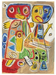 View Two Figures and a Bird By Karel Appel; Gouache, watercolour and crayon on paper; Access more artwork lots and estimated & realized auction prices on MutualArt. Respect Images, Cobra Art, Art Informel, Amsterdam, Art Graphique, Aboriginal Art, Outsider Art, Minimalist Art, Sculpture