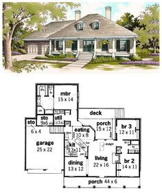 #Colonial #HousePlan 65625 has 1800 square feet of living space, 3 bedrooms and 2 bathrooms. Outdoor living space includes a handsome front porch, back porch and deck. The master suite occupies the back of the home with a laundry room off the same hallway. A skylight lends natural light to the living room, and a fireplace adds charm.