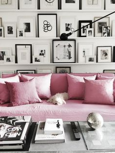 Our guide on how to style blush pink in the home. Pink sofa, pink pillows, and the rest of the room can be black and white. Interior Inspiration, Room Inspiration, Design Inspiration, Home Interior, Interior Decorating, Decorating Ideas, Decorating Websites, Interior Livingroom, Design Websites