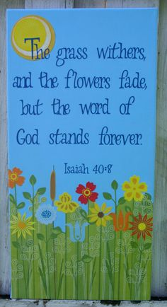 Scripture Canvas Wall Art 12x24in. Isaiah 40:8