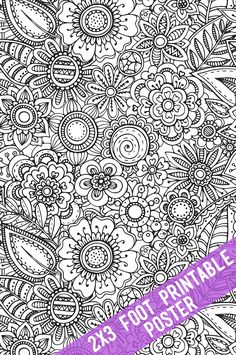 Floral Coloring Poster - Coloring for a group! Huge adult coloring pages you can…