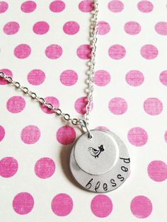 bird pendant hand stamped jewelry necklace