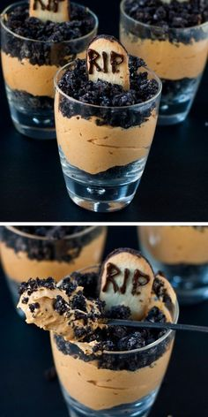 Pumpkin Dirt Pudding (Graveyard Parfaits) | Click Pic for 42 Halloween Party Food Ideas for Kids to Make | Easy Halloween Treats for Kids To Make halloween party food and drink, halloween parties #recipe #halloween