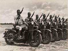 WWII Harley Davidsons and US Troops