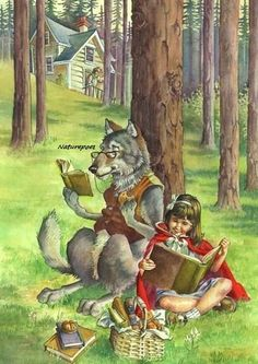 Little Red Riding Hood Book Illustration by naturepoet on Etsy, $4.50