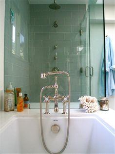 Guest bath options. I really like blue glass tile.