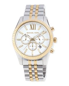MICHAEL Michael Kors Mid-Size Two-Tone Stainless Steel Lexington Chronograph Watch, SILVER/GOLD