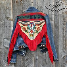 """ONE OF A KIND, Hand Crafted by Wild Bleu Mama! - Hand Tooled & Painted - 6"""" Scarlet Buckskin Fringe - Concho Accents - Southwestern Yoke - Made in Texas - Size 10"""