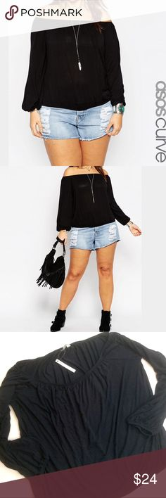 """ASOS Curve Off-Shoulder Gypsy Blouse ASOS Curve Black 3/4 Sleeve off-shoulder sexy Gypsy blouse Simple classic genius. New with tags. Perfect condition! 95% Viscose 5% Elastane Labeled a size Plus 18, it is meant to be free flowing, check your measurements, exact measurements, Bust: 52"""" Length: 21"""" ASOS Curve Tops Blouses"""
