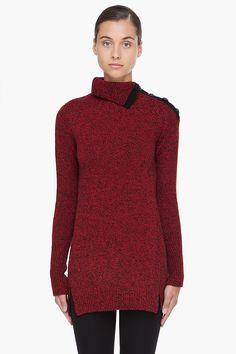 Red & Black Wool Turtleneck.