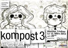 "Die Session des jazzkaffee schwaz in der Weinbar Lindner mit der Band ""kompost 3"". Jazz, Snoopy, Fictional Characters, Old Stuff, Composters, Make A Donation, Coffee, Jazz Music, Fantasy Characters"