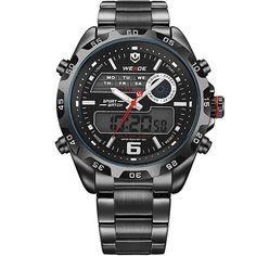 New Watch Analog-Digital Display Outdoor Men Sport Quartz Movement Military Watch Back Light Stainless Steel Band