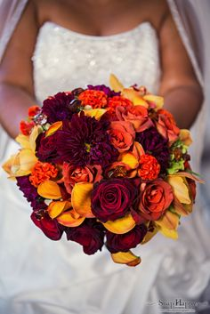 Burgandy, orange and yellow bouquet by Southern Event Planners, Memphis, TN Photography by Snap Happy