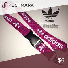 Adidas PINK lanyard Yes it's available✳️  Lanyard ONLY, sticker is just for decoration. No tags❌ Not accepting offers on individual items❌.  No trades❌.                                                                                       1 lanyard $6 2 lanyards $10 3 lanyards $12 4 lanyards $14 5 lanyards $16 6 lanyards $18 Adidas Accessories Key & Card Holders