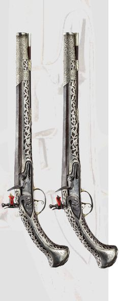 A pair of silver mounted flintlock pistols, Le Lorain in Valence, ca. Flintlock Pistol, Revolver Pistol, Black Powder Guns, Mens Toys, Arm Armor, Cool Guns, Guns And Ammo, Shotgun, Firearms