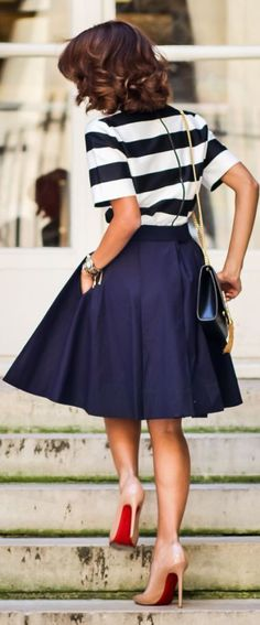 Summer Into Fall Outfits ~ 60 New Styles - Style Estate - Stripes, midi skirt Navy full skirt, navy and white stripes top