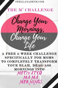 Tired of feeling like you're going nowhere? Spinning your wheels? Then it's time to transform you life by transforming your mornings! FREE 4 week challenge to create the perfect morning routine tailored for YOU and your family's needs! (Similar to the mir