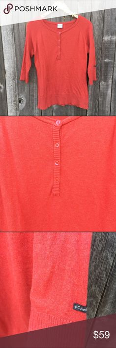 "Columbia Coral Henley 3/4 Sleeves Sweater L VGUC! Beautiful and versatile salmon or Coral color sweater with 3/4 length sleeves. Fashion meets function. Columbia quality and comfort. Slight pilling/wear on side of chest/under arms on body. Hardly noticeable. 20"" pit to pit, 27"" shoulder to hem length. 20"" long sleeves. Offers warmly welcomed! Columbia Sweaters"