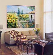 Campo de girasoles - Otoño. Cuadros, decoración de paredes, decoración de habitaciones, decoración del hogar- Trabajo de decoraconimaginacion.com