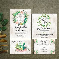 Cactus Wreath Succulent Wedding Invitation Kit Rustic Pink And Greenery  Floral Set/Suite RSVP Thank You Cards Printable Digital Files