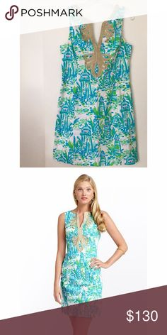 "EUC Janice Shift Dress in High Beams, size 6 Sleeveless Shift With V-Neck And 2"" Side Slits. 20"" From Natural Waist To Hem. Cotton Poplin (100% Cotton). Lilly Pulitzer Dresses"