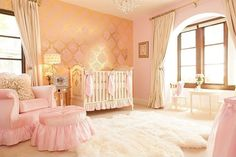 Traditional Nursery with Flavor Paper Fruits of Design Damask Wallpaper, interior wallpaper, Chandelier, Bay window, Carpet