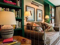 daybed in green library ~ David Netto design