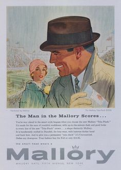 1957 Mallory Hats Advertisement 1950's Men's by AdVintageCom