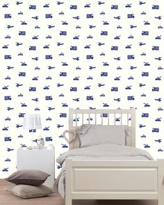 Tapetti Cars 137321 m sininen non-woven Car Wallpapers, Kidsroom, Mattress, Bed, Shapes, Furniture, Cars, Home Decor, Home