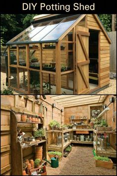 "Not only is it a potting shed, it is also used as a garden tool storage and a ""greenhouse"" for starting seeds. shed design shed diy shed ideas shed organization shed plans Garden Shed Diy, Garden Tool Storage, Diy Shed, Easy Garden, Garden Art, Yard Tool Storage Ideas, Garden Shed Interiors, Garden Totems, Storage Sheds"