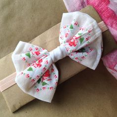 Big bow headband  repurposed vintage hankie by SecondhandFancyMade