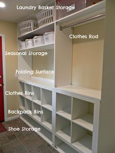 I think I have Laundry room storage envy! Built In Storage for Laundry Room. I think I have Laundry room storage envy! Built In Storage for Laundry Room…oh… Laundry Room Remodel, Closet Remodel, Laundry Room Organization, Laundry Storage, Laundry Room Design, Built In Storage, Laundry Rooms, Storage Organization, Closet Storage