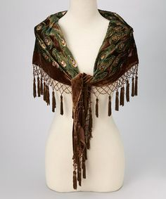 Another great find on #zulily! Brown Floral Peacock Silk-Blend Shawl by  #zulilyfinds