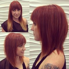 Edgy copper a-line haircut