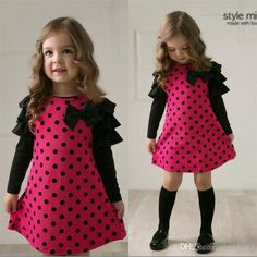 Online Cheap Kids 2015 New Princess Dress Wave Point Bow Girls Long Sleeved Clothes And Even Wholesale By Jackieai3 | Dhgate.Com