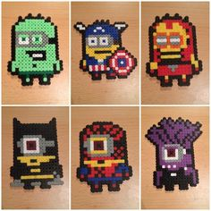 Minions Avengers, Minion Batman and evil Minion hama perler beads by avisto1
