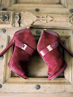 Velvet red booties by Michael Kors.